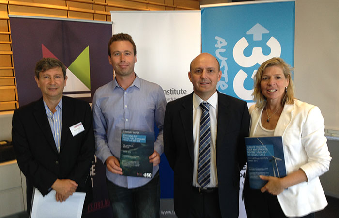 "Mark Fulton (Carbon Tracker), Julien Vincent (Market Forces), Richard Denniss (The Australia Institute) and Blair Palese (350.org) at the launch of ""Climate proofing your investments""."